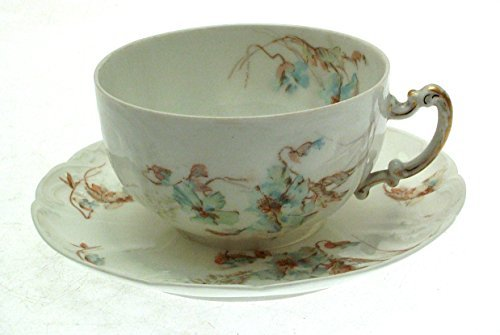 Stonier Blue Limoges Flower Breakfast Cup and Saucer