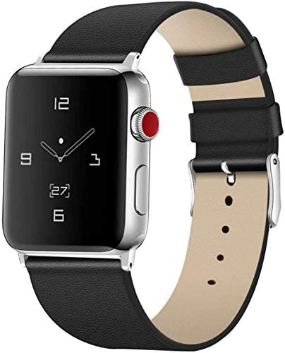 Leather Bands for Apple Watch Band 42mm 44mm Men & Women Sport Genuine Leather Strap Replacement Band Compatible for iWatch Series 5 4 3 2 1, Black