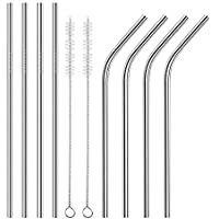 hupos Reusable Metal Smoothie Straw with Cleaning Brush 8 Pieces