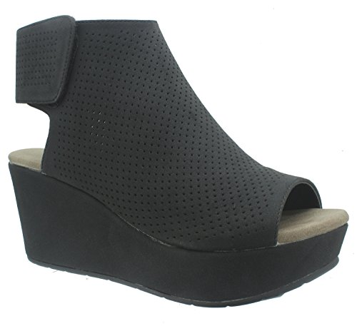 Pierre Dumas Women's Natural-2 Backless Slip-On Chunky Stacked Heel Fashion Mule Bootie Black