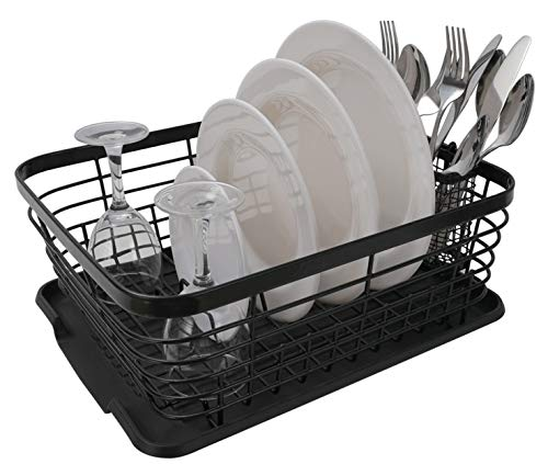 ESYLIFE Kitchen Dish Drainer Drying Rack with Drip Tray and Full-Mesh Silverware Storage Basket, Black ()