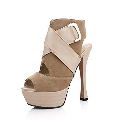 VogueZone009 Women's Peep Toe High Heels Solid Zipper Sandals Apricot SebYmxW8z