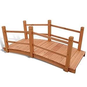 Anself Jardín Puente para estanque puente jardín estanque puente de madera 140x 60x 56cm