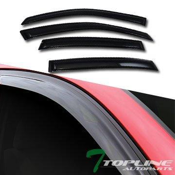 Topline Autopart Sun Rain Wind Smoke Tint Guard Vent Shade Deflectors Window Visors 4 Pieces For 00-05 Chevy - Impala Vent