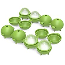 """Nuovoware Ice Ball Mold Tray, [2 PACK] Food Grade Soft Silicone Whiskey Ice Ball Maker Large Round 4.3cm/1.7"""" Sphere Ice Tray Set for Keeping Drink Cold and More Tasty, BPA Free, Green"""