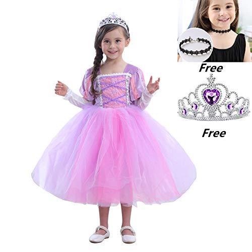 Girls Princess Sofia Rapunzel Dress Long Sleeves Costume Cosplay Tutu Dress Halloween Christmas -