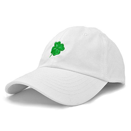 Baseball White Cap Logo (DALIX Four Leaf Clover Hat Unisex Baseball Cap ST Patricks Day Cotton Soft Caps White)