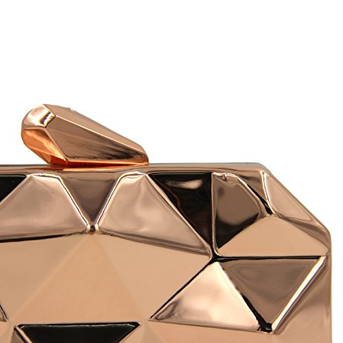 Bag Rose Gold for for Metallic Evening Prom Handbags Wedding Party Night Out Women 5TFxOqaP