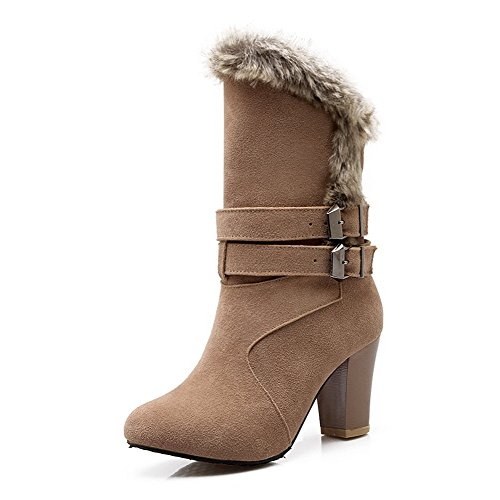 AllhqFashion Womens Frosted Round ToeHigh-heels Solid Boots Khaki m5uVt