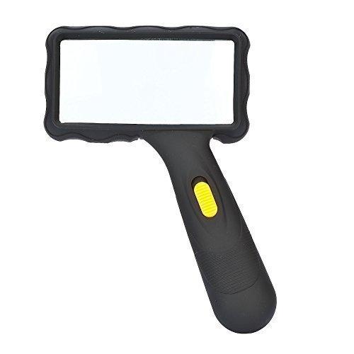 MG 84026AL - LED Leselupe/Handlupe grosser Linse (100 mm x 50mm) ca. 2x fache Vergrößerung - 2 LED Lampen - mit Glaslinse - betriebsbereit - + 1x Reinigungsset