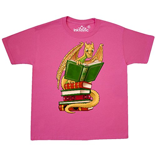inktastic - Well-Read Cute Youth T-Shirt Youth Large (14-16) Neon Pink 29b8d (Neon Dragon)