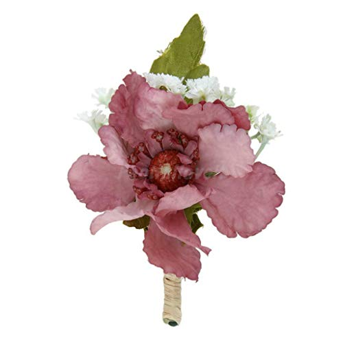 wer Brooch Groom Boutonniere Wedding Buttonhole Men/Women Corsage | Color - Cameo Brown ()