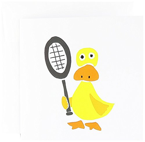3dRose Funny Yellow Duck Holding Tennis Racquet Greeting Cards, 6