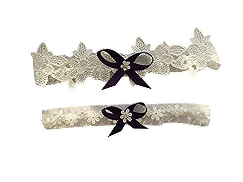 YuRong Weding Garter Set Rhinestone Bow Lace Garter Set Bridal Garter Set G17 (Grape) ()