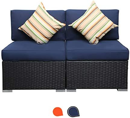 EXCITED WORK 2 Piece Outdoor PE Wicker Rattan Patio Couch