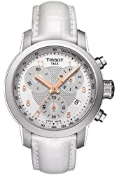 Tissot Men's Swiss Quartz Stainless Steel and Leather Automatic Watch, Color:White (Model: T0552171603201)