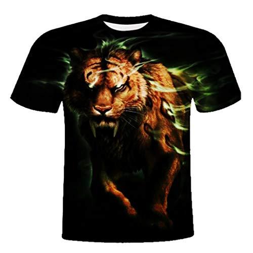 (XQXCL Unisex 3D Fashion Saber-Toothed Tiger Printing Crewneck Short Sleeve T-Shirt Tank Sweatshirt Black)