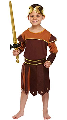 Rimi Hanger Boys Roman Soldier Costume Childrens Greek Gladiator Warrior Fancy Dress Outfit Large (10-12 Years)