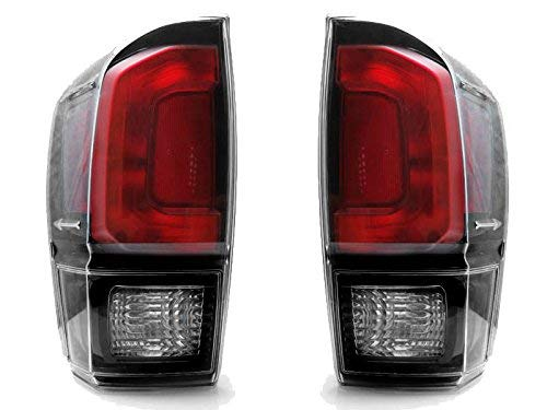 Fits Toyota Tacoma 2016 2017 2018 2019 Tail Light Clear Lens Assembly Black Bezel Pair TRD Pro Style (CAPA Certified) TO2800201, TO2801201