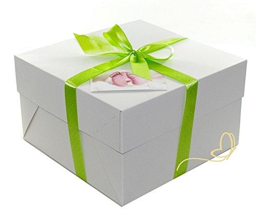 dubistda/© handmade Pampers Windeltorte gr/ün in Cakebox Geschenke zur Geburt