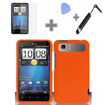 4-Items-Combo-Case-Screen-Protector-Film-Case-Opener-Stylus-Pen-Rubberized-Solid-Orange-Color-Snap-on-Hard-Case-Skin-Cover-Faceplate-for-HTC-Vivid-Holiday-ATT
