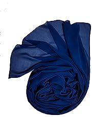 طرحة شيفون كريب سادة أزرق من دار