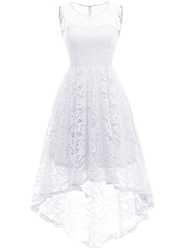 MUADRESS 6006 Women's Vintage Floral Lace Sleeveless Hi-Lo Cocktail Formal Swing Dress 2XL White
