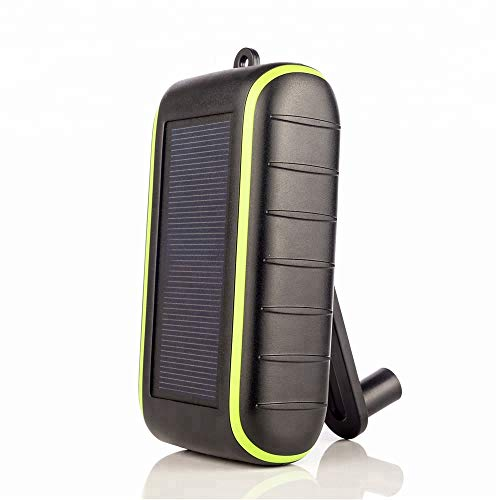 Solar Charger Hand-Crank Portable, 10000 mAh Solar Power Charger, 2019 Edition, Dual USB Output & LED Flashlight, 3 Power Modes, Mobile Phone Charger Waterproof for Indoor & Outdoor (Phone Charger Wind)