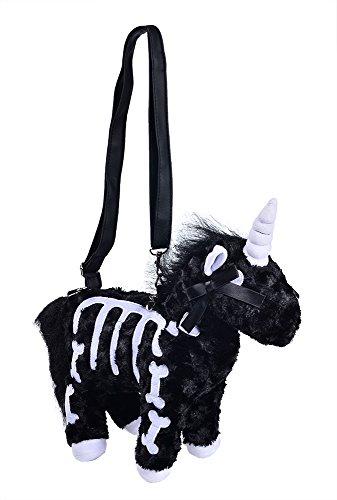 - Nite closet Unicorn Purse for Women Crossbody Shoulder Bag Cute Fluffy Animal Halloween (Black)