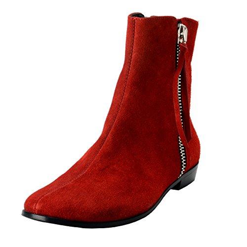 Røde Homme Skinn Boots Semsket Menns Oss Giuseppe Sko Ankel Zanotti qHRa66