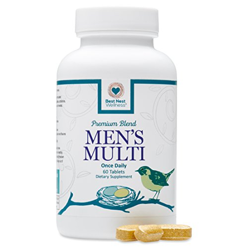 Best Nest Men's Multi | Methylfolate, Methylcobalamin (B12), Multivitamins, Probiotics, Made with 100% Natural Whole Food Organic Blend, Once Daily Multivitamin Supplement, 60 Tablets… (Tabs Once Daily 60)