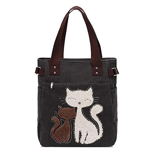 (Large Utility Canvas handbag Fashion Women Tote Bags cat Purses Animal Design women Top Handle Beach Satchel Bag (Black))