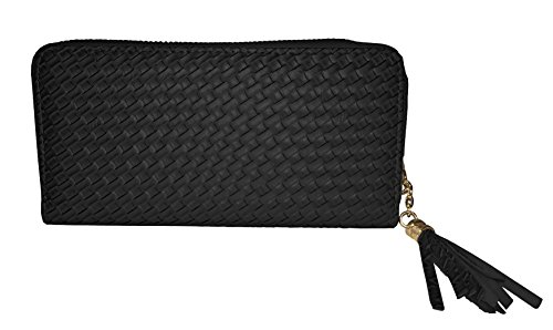 Vegan Lace (Vera Women's Lace Zip Vegan Leather Clutch Wallet (black))