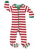 Elowel Striped Pajama Sleeper Set Red & White 12-18 Months