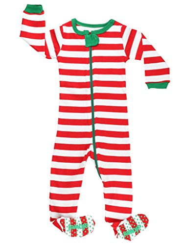 (Elowel Striped Pajama Sleeper Set Red & White 5 Toddler)