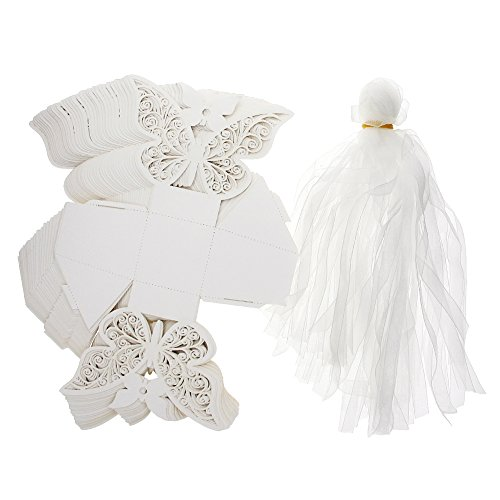 Eachbid 50pcs Laser Cut Butterfly Wedding Box Candy Gift Box Party Decoration White