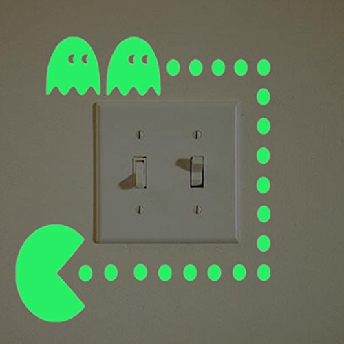 Gbell Glow in The Dark Light Switch Stickers for Bedroom Boys Girls,Night Luminous Wall Stickers- Kids Home Kitchen Bathroom,Decor,Green (C)