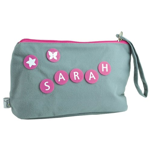 kjomizo–Do dottybag gris Neceser pañal bolso individualisierbar con multicolores Velcro dottys en el color de la cremallera morado rosa