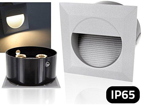 LED Wandeinbauleuchte Aluminium-Druckguss incl. Einbaudose - 230V IP65 - warmweiß (3000 K)