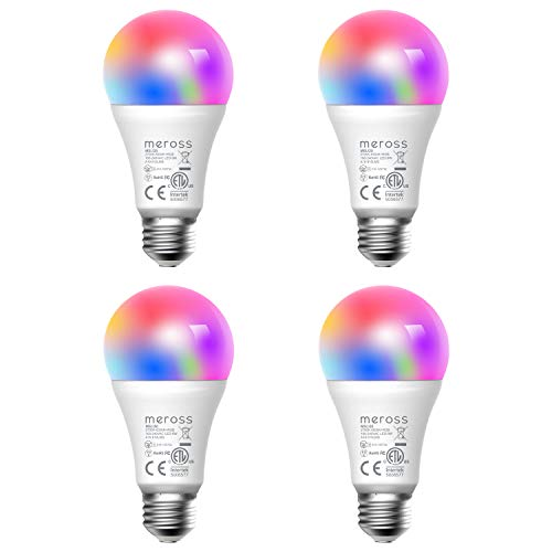 meross Smart WiFi LED Light Bulb E26 Multicolor Light Bulb, RGB, 60W Equivalent, Compatible with Alexa, Google Assistant and IFTTT, No Hub Required (4 Pack)