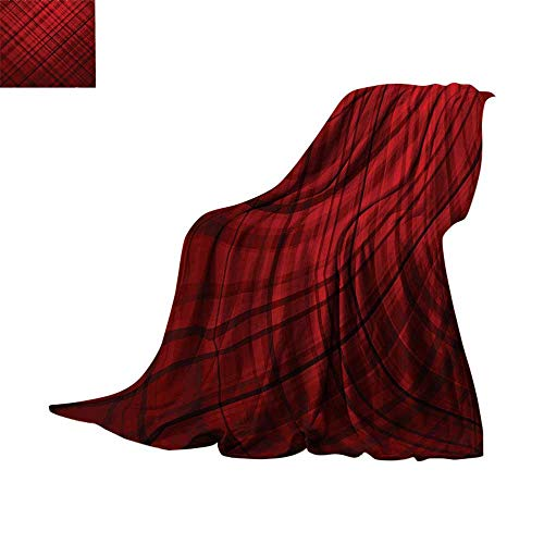 45e8ac82c Custom homelife Throw Blanket Red and Black,Scottish Kilt Design Pattern  with Stripes Lines Squares