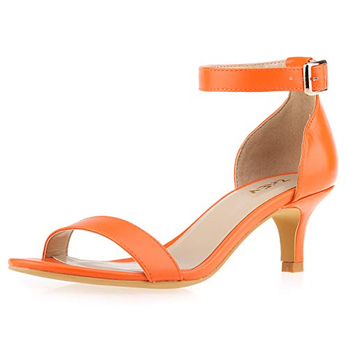 - ZriEy Women Sexy Open Toe Ankle Straps Low Heel Sandals Orange Size 8.5