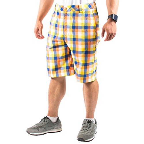 Puma Men's Golf Check Tech Short, Vibrant Orange, 28