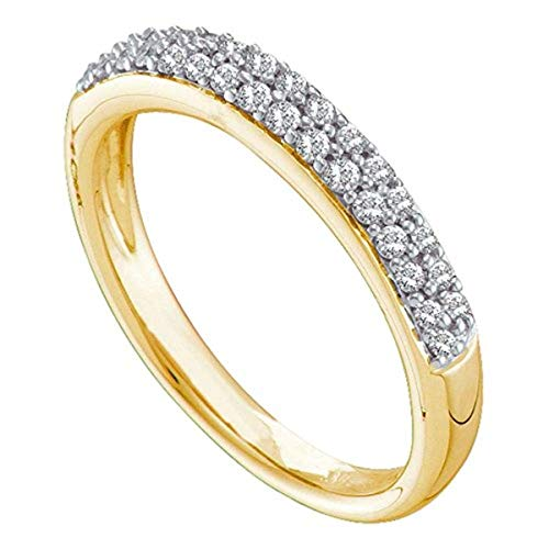 Roy Rose Jewelry Ladies Pave-Set Diamond Double Row Wedding Band 1/4 Carat tw ~ Size 7, in 14K Yellow Gold - Double Row Diamond Set