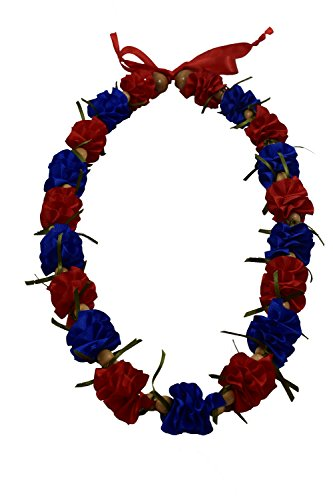 Hawaiian Ribbon Lei, Blue and Red-Ilima 32 Inch by Hawaii UWT