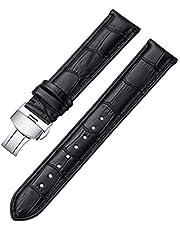 iStrap Leather Watch Band Alligator Grain Calfskin Replacement Strap Stainless Steel Deployment Buckle Bracelet for Men Women-18mm 19mm 20mm 21mm 22mm 24mm-Black Brown