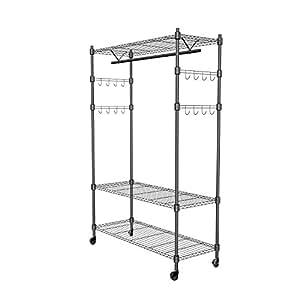 Amazon.com: Ropa rack, 3-tiers Heavy Duty Wire Shelving ...