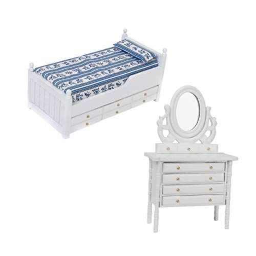 Flameer 1/12 Dolls House Miniature Furniture Bedroom Bed Mattress Pillow Kit & Dressing Table Kids Pretend Play Toy