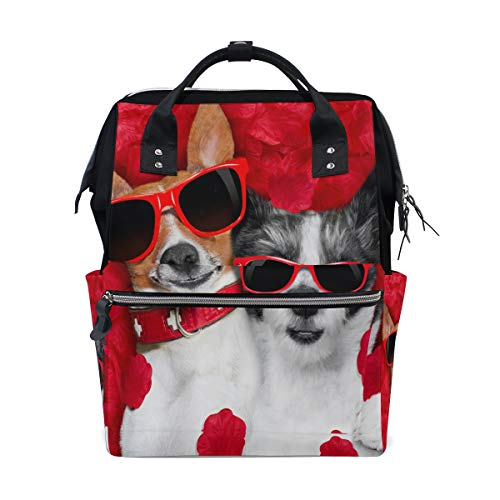 - Two Dogs Breed Jack Russell Terrier Chihuahua Red Glasses Petals Bag Backpack Large Capacity Muti-Function Travel Bag for Mummy Women