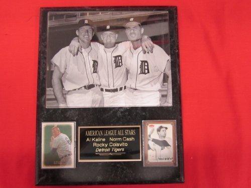 Tigers Al Kaline Rocky Colavito Norm Cash 2 Card Collector Plaque w/ 8x10 Vintage Photo